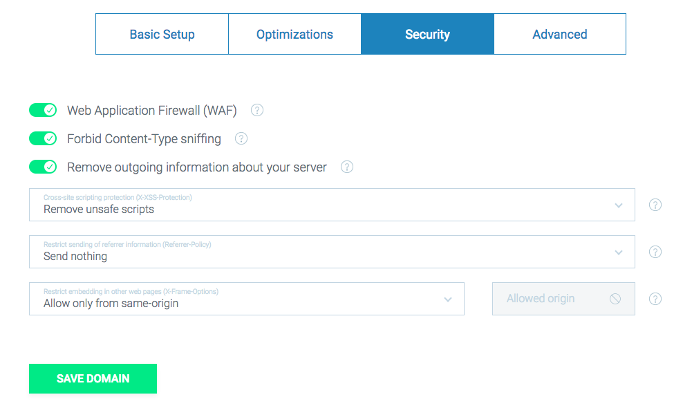 http security headers options in wao.io - WAF, nosniff, xss attacks